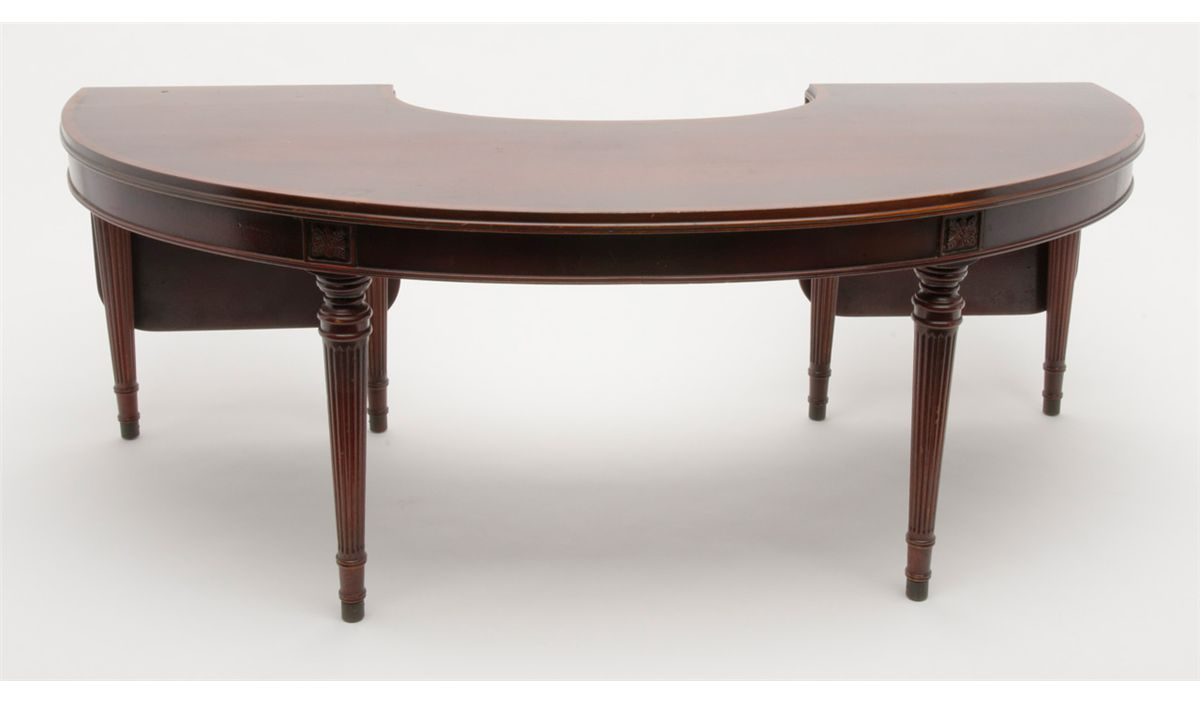 Antique Mahogany Specialty Semi Circle Table With Two Folding Leaves