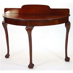 Edwardian Mahogany Chippendale Style Semi Circular Side Table The Top With Shaped Back Rail And