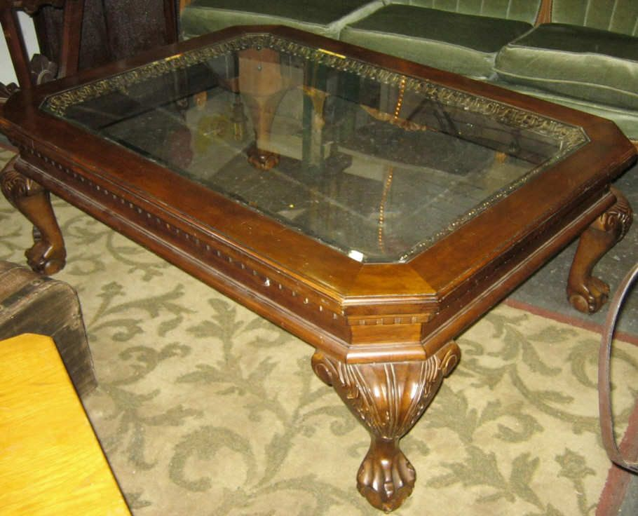 52 Image 2 Large Gl Top Coffee Table W Claw Feet Rox