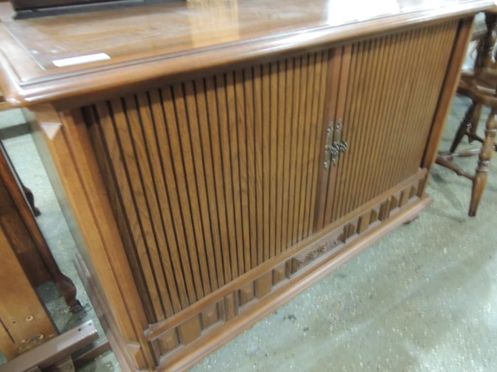 Image 1 Vintage Tv Cabinet With Roll Doors
