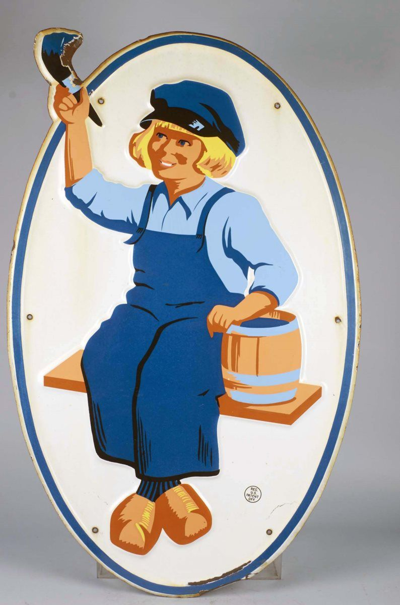Image 1 Large Embossed Dutch Boy Paint Porcelain Sign