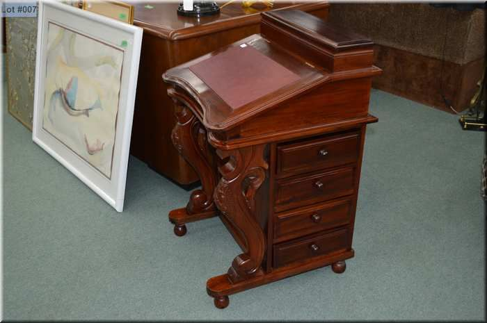 Image 1 Victorian Style Mahogany Davenport Desk With Orted Cubby Holes And Drawers