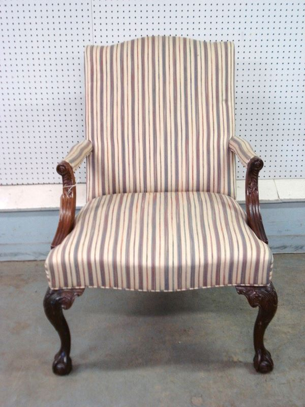 Relatively Martha Washington Chippendale style lolling chair with upholstered  LR05