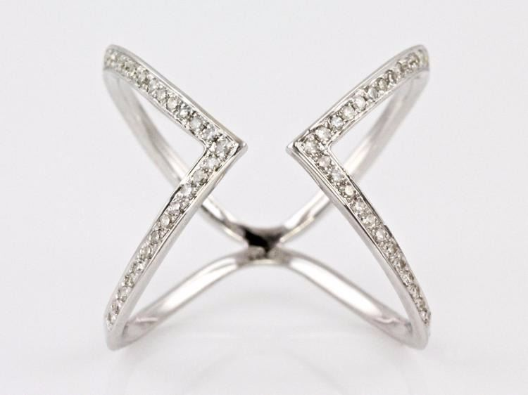 0 22ct Micro Pave Diamond in 14K White Gold Chevron X Cuff Ring