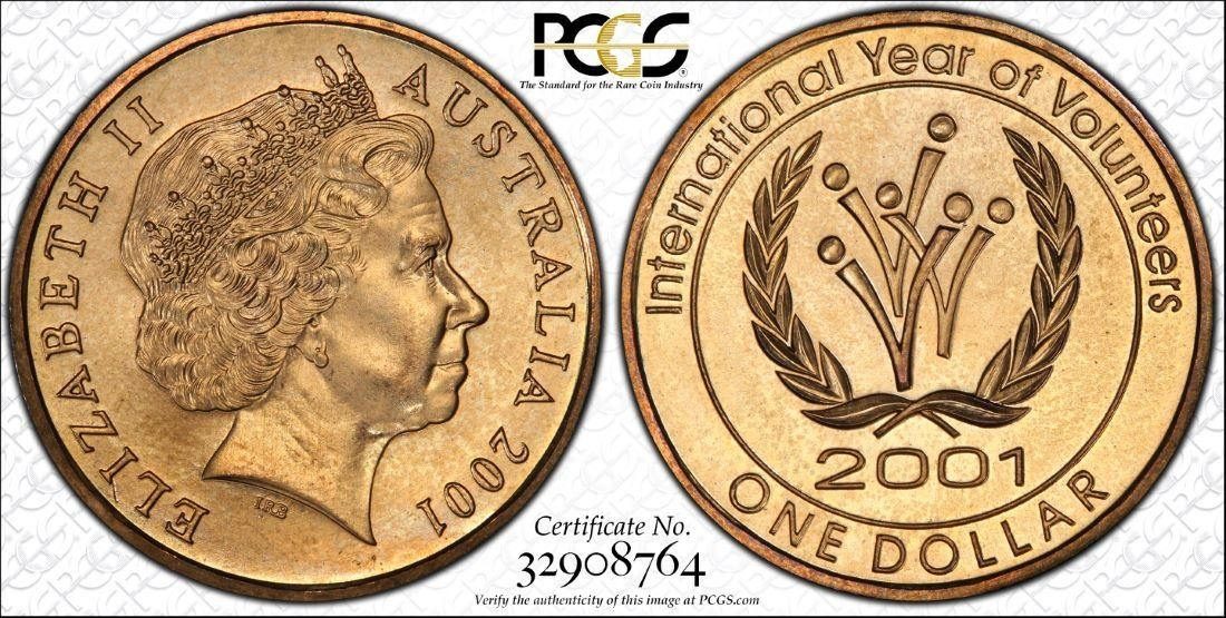 Image 1 Australia One Dollar 2001 International Year Of Volunteers Pcgs Ms66