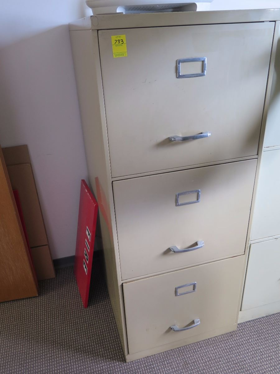 3-drawer metal file cabinets (tan) 21x52 - oahu auctions 3 drawer metal file cabinet