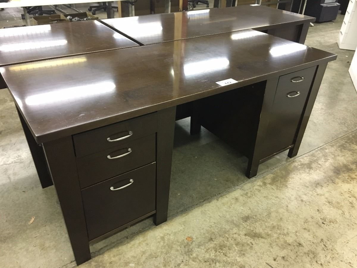 Image 1 Cherry 6 Solid Wood Contemporary Double Pedestal Executive Desk