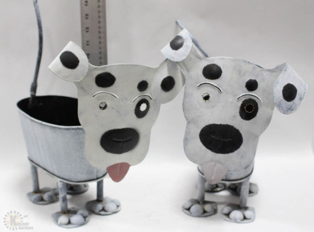 Image 1 Pair Of Unique Metal Dog Plant Holders 14 X13