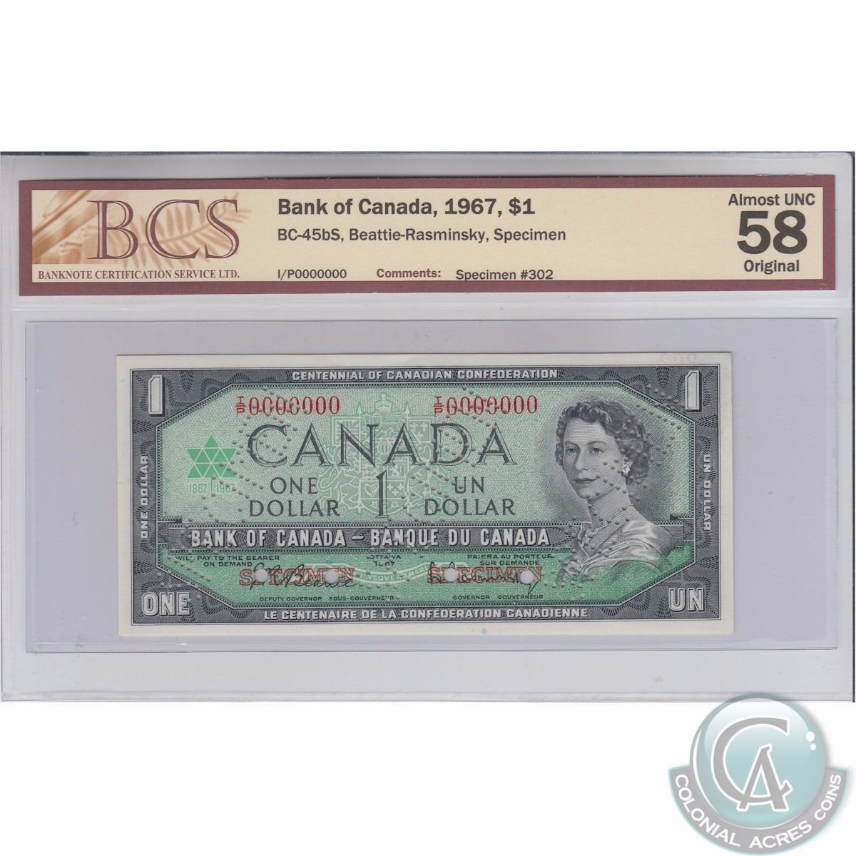 Bc 45bs 1967 Bank Of Canada Specimen 1 Beattie Rasminsky Wiring Money From The Us To 302 S N I P0000000 Bcs Cer