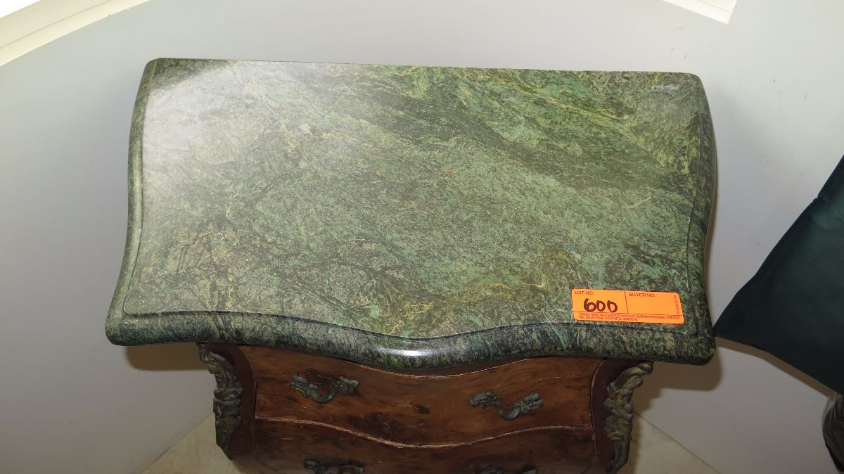Excellent Burl Wood Bombe Chest Side Table w/Green Marble Top 32x13x28 IS26