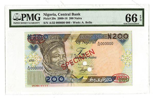 1 UNC Pick 29a NIGERIA 200 Naira 2000