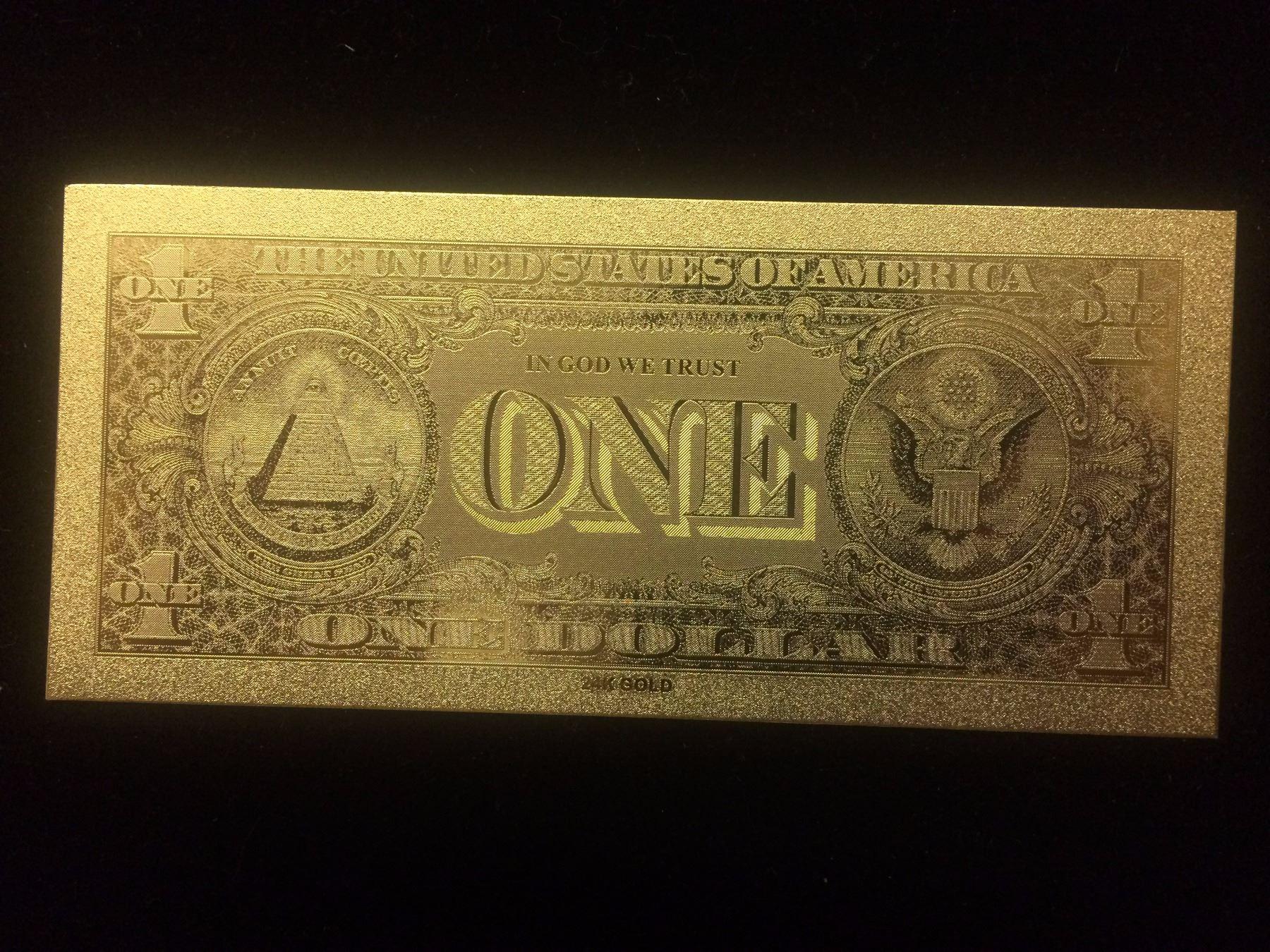 Image 1 24 Karat Gold Foil Usa One Dollar Bank Note