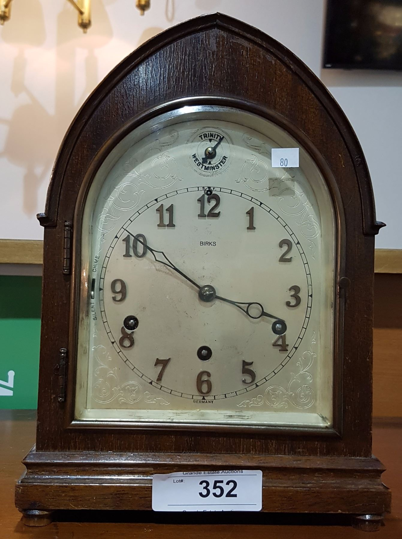 Image 1 Birks Westminster Chimes Mantle Clock W Pendulum And Key In Working Order