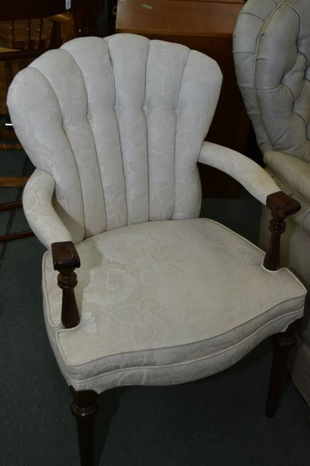 Image 1 Vintage Channel Back Upholstered Arm Chair With Reeded Supports