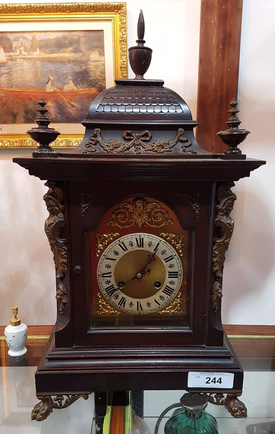 Image 1 Antique Mantle Clock Westminster Chimes No Key Pendulum