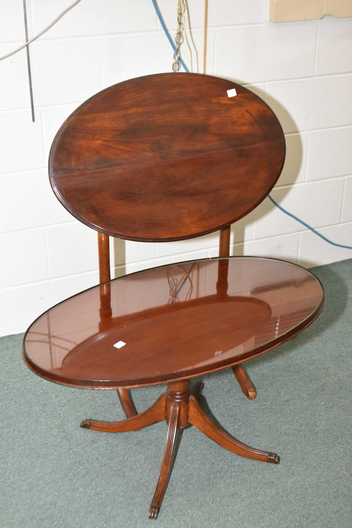 Image 1 Regency Style Center Pedestal Mahogany Coffee Table With Br Ced Claw Feet And