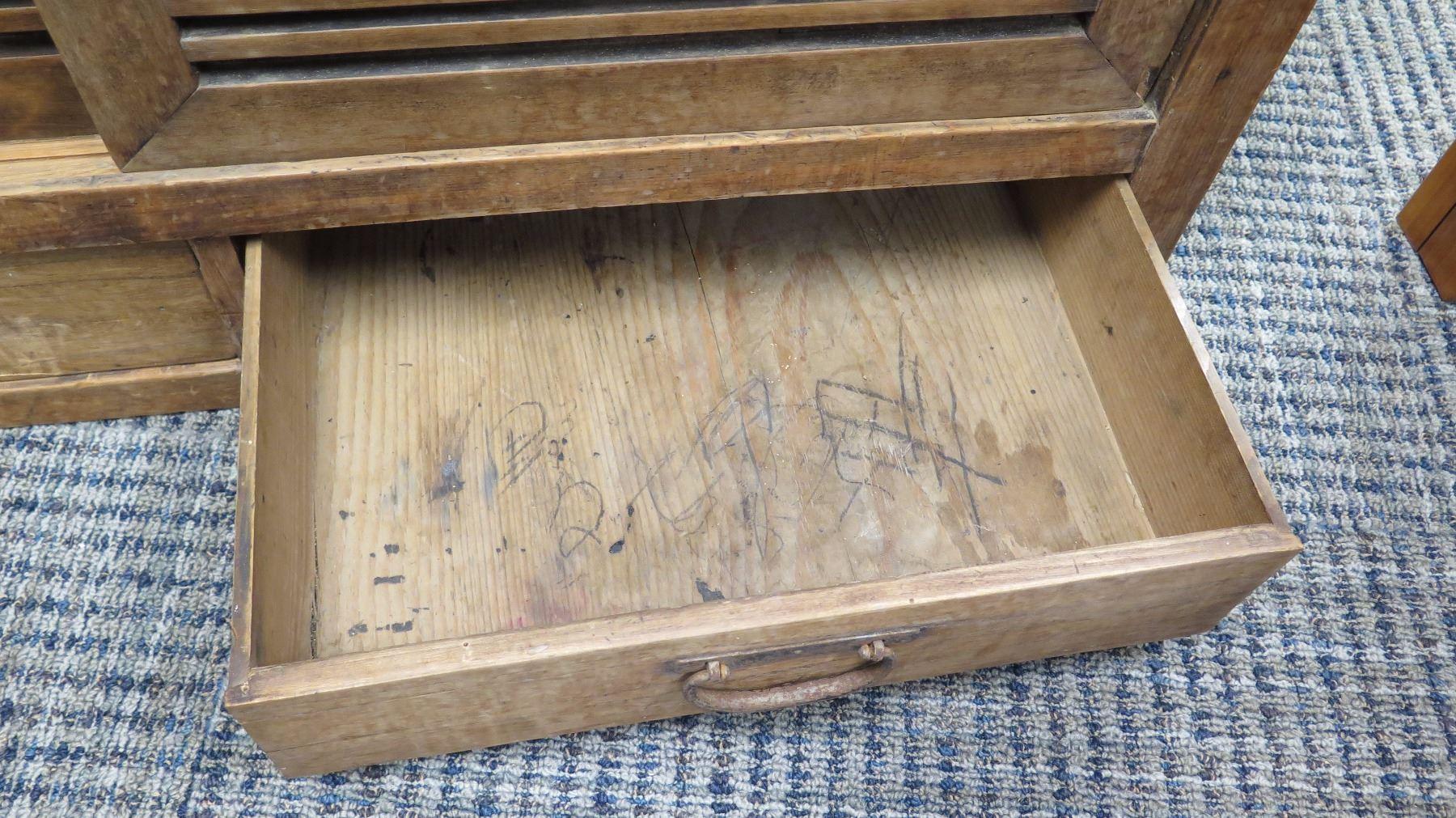 "Furniture - Rustic Wood Cabinet w/Drawers, 37.25"" x 19.75 ..."