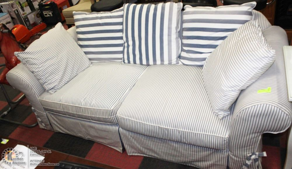 Image 1 16 Blue And White Pin Striped Couch