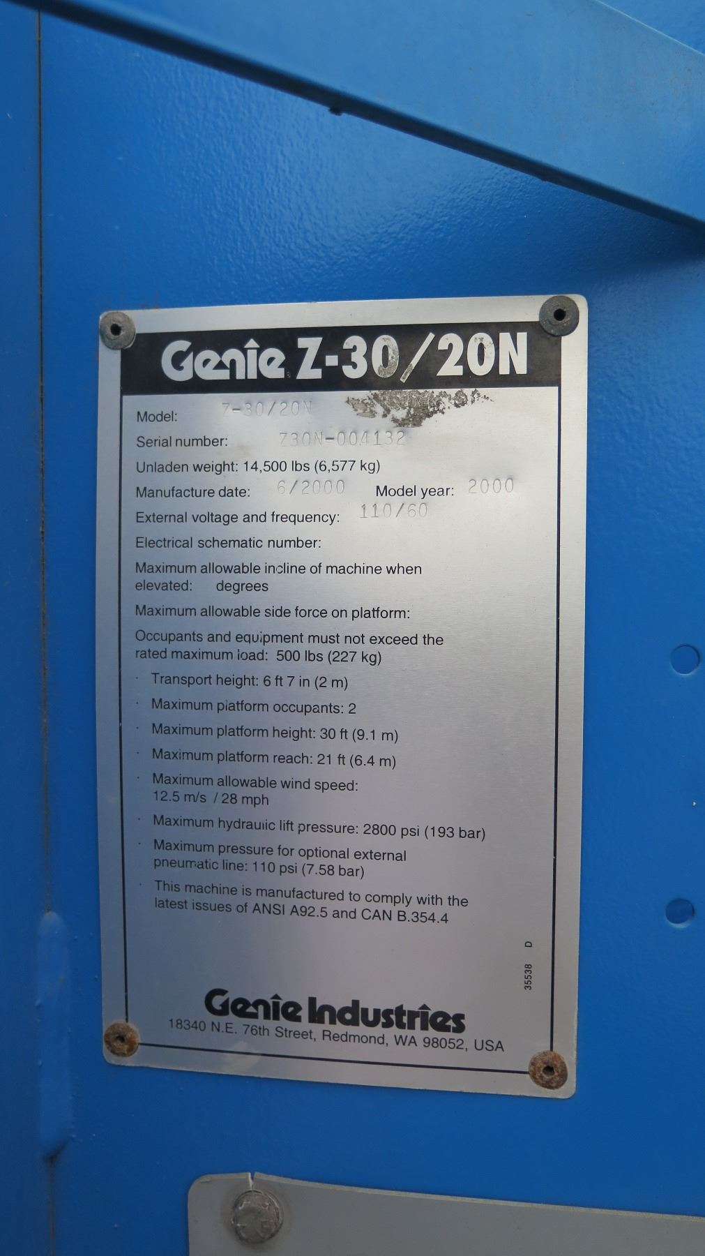 2000 Genie Z 30 20n Articulating Boom Lift Charge Doesnt Last Long Wiring Diagrams Hydraulic And Pneumatic Image 2 Doesn