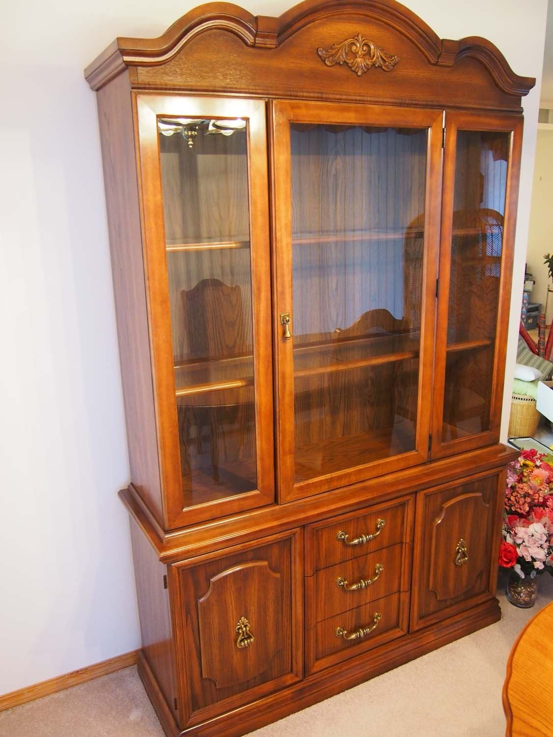 Beautiful Oak China Cabinet With Glass Doors and Shelves ...