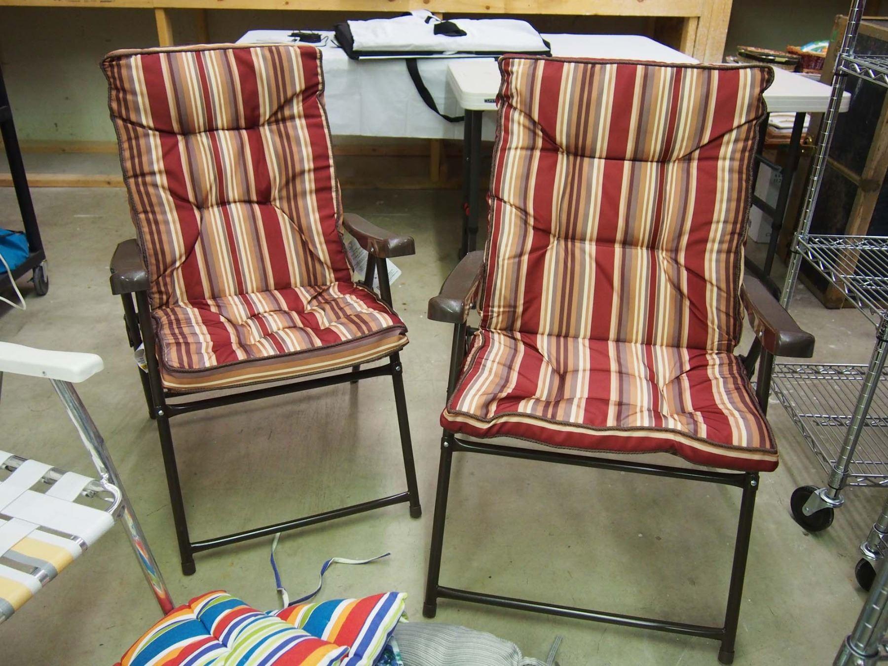 Image 3 Folding Patio Chairs 4 W Cushions