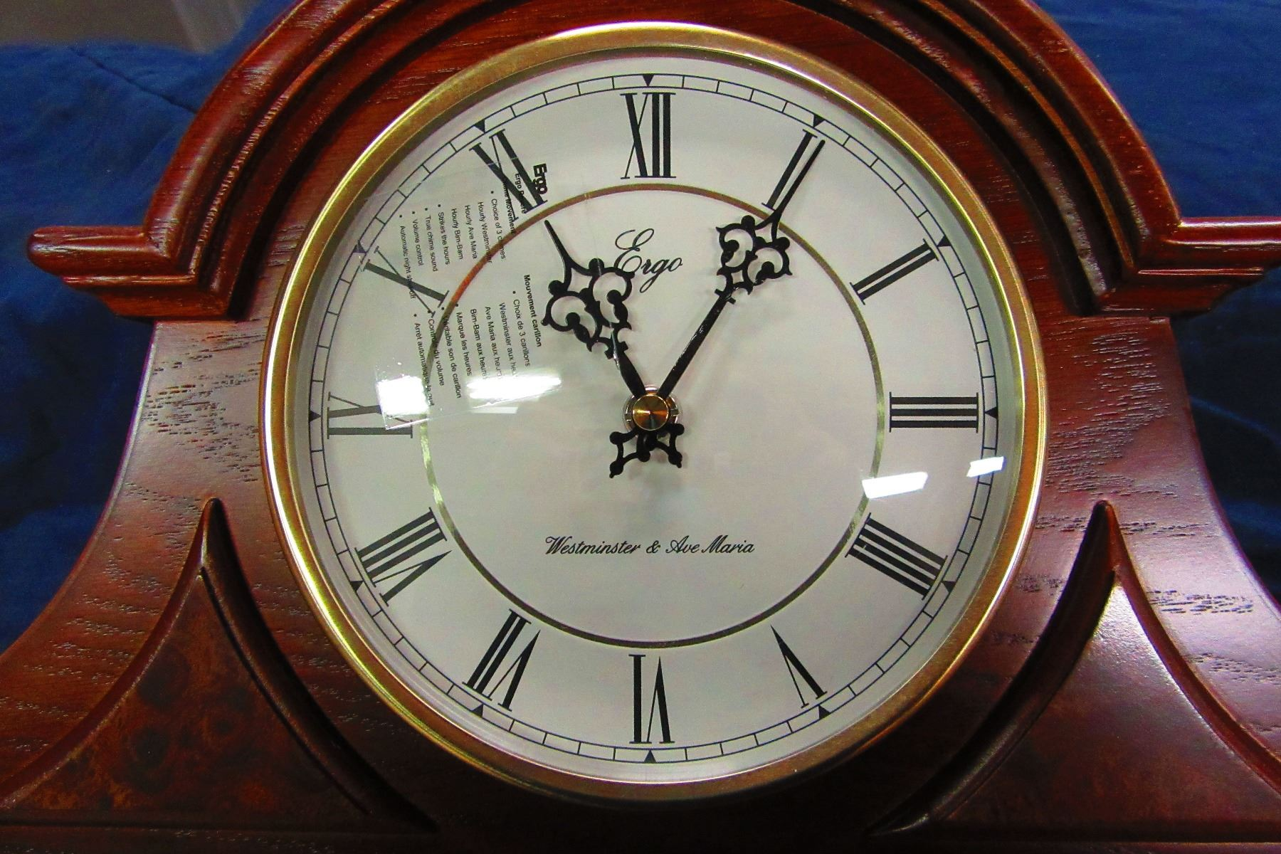 Image 2 New Ergo Wood Framed Mantle Clock With Westminster Ava Maria Chimes