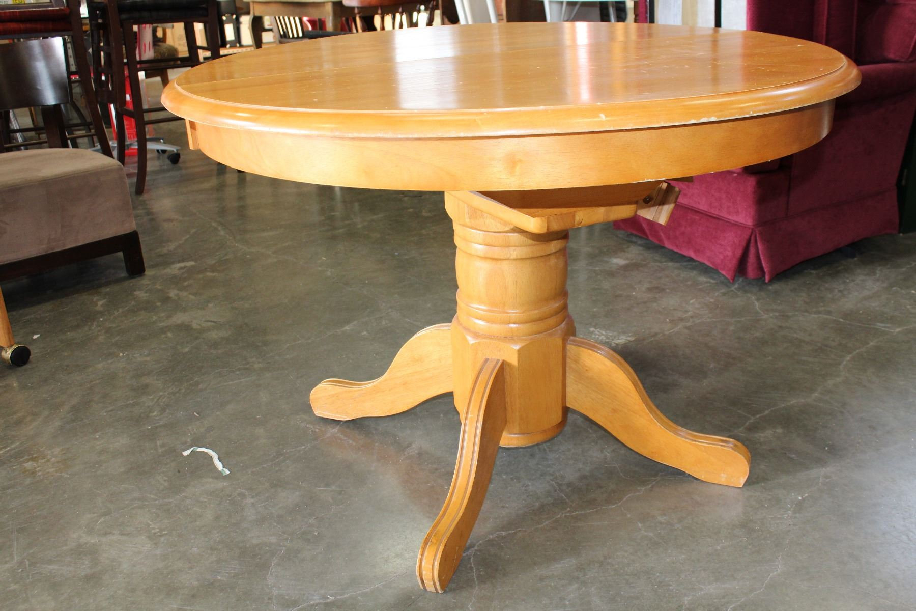 Image 3 Round Maple Dining Table With Jack Knife Leaf And Four Oak Rolling Chairs