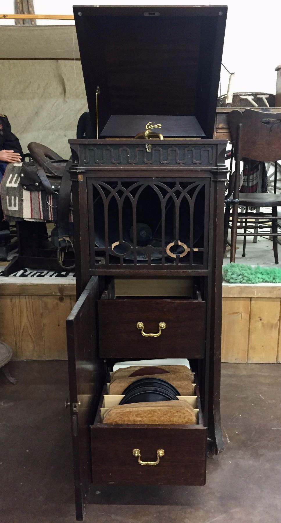 Image 2 Antique Edison Phonograph Cabinet