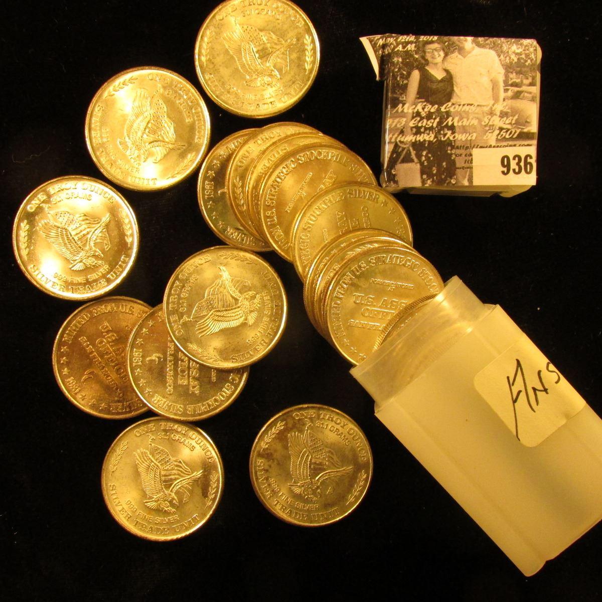Original Bu Roll Of 20 1981 One Troy Ounce 31 1 Grams 999 Fine Silver Trade Unit Medall