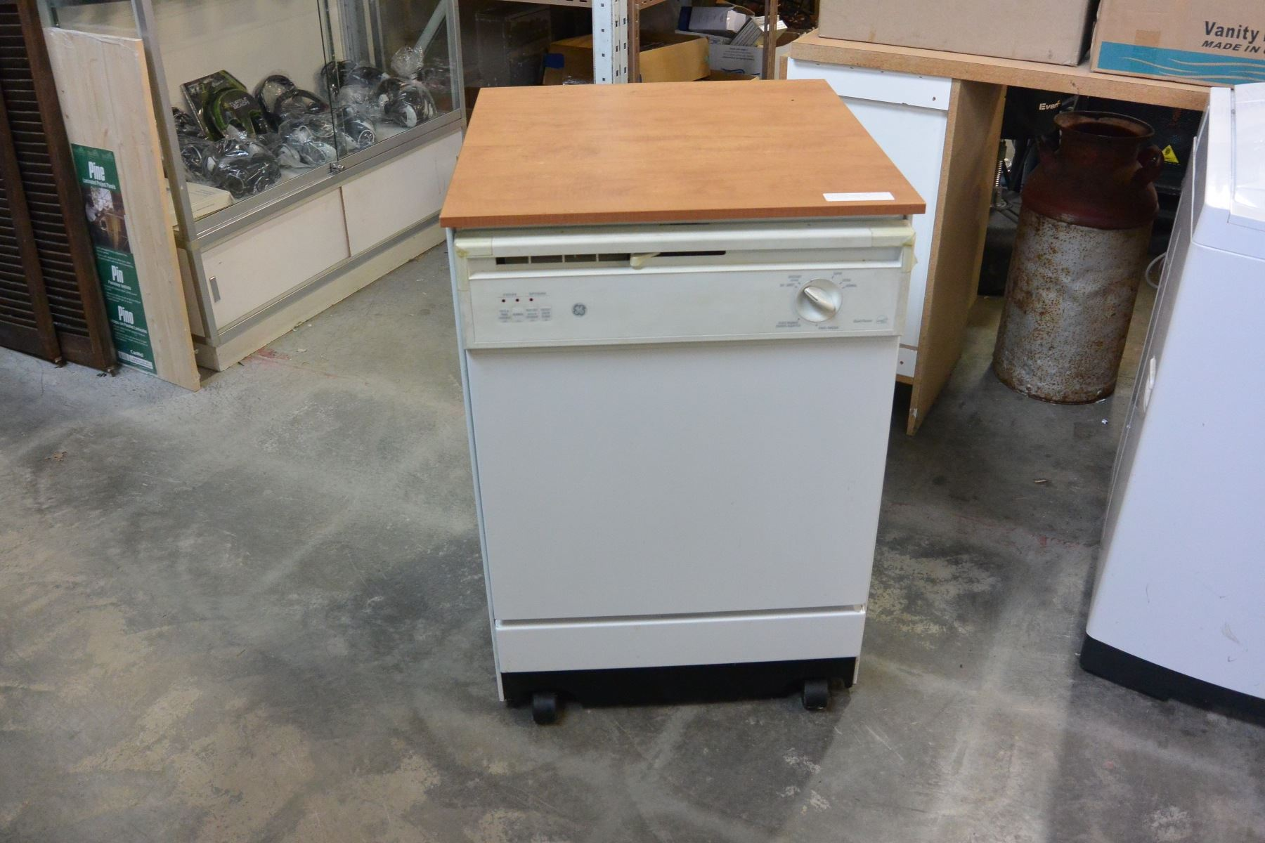 Image 1 Ge Portable Dishwasher Working With Butcher Block Top