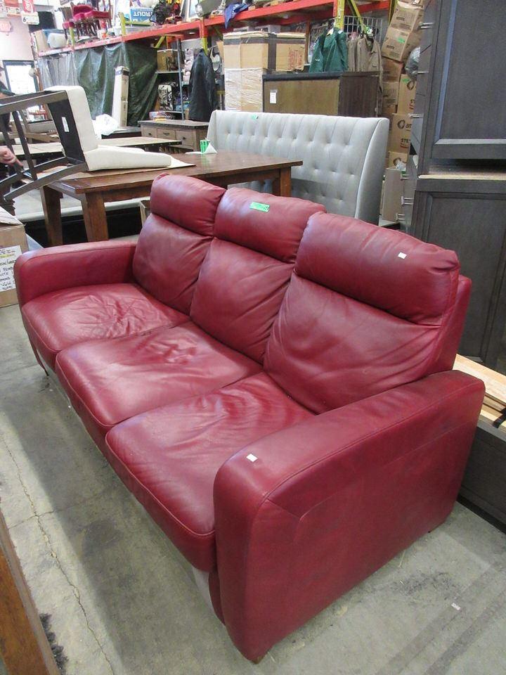 Image 1 Natuzzi Red Leather Reclining Sofa