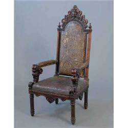 A 19th Century Italian Carved Walnut High Back Chair Upholstered Tooled Leather Seat And C