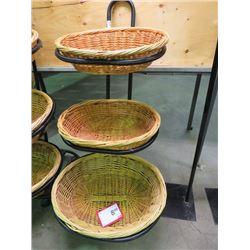 3 Tier Wicker Basket Product Merchandising Stand Metal Frame 4 6 H