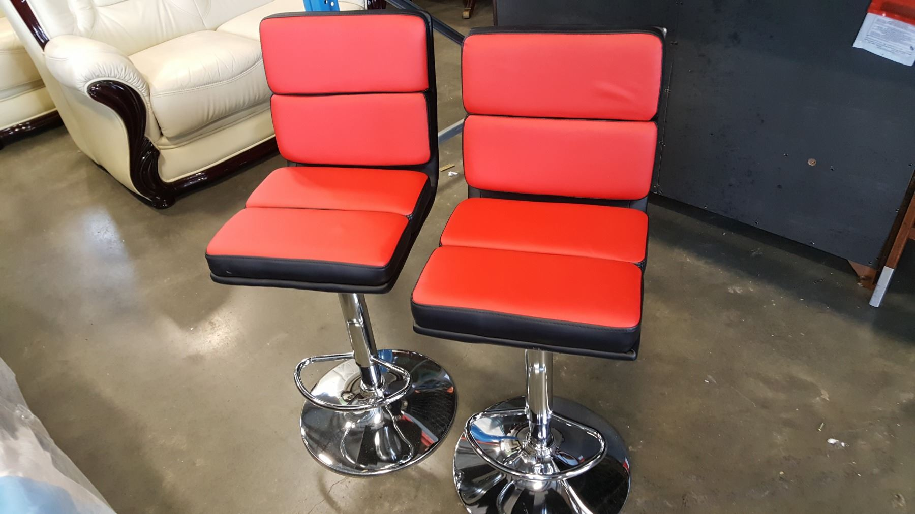 Image 1 New Pair Modern Red And Black Leather With Chrome Bar Stools Retail