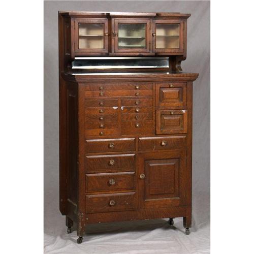 Image 1 Antique Oak Medical Dental Cabinet Multi