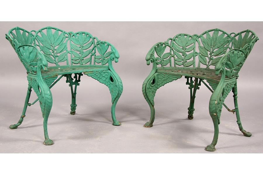 Image 1 Pair Antique Cast Iron Chairs Colebrookdale
