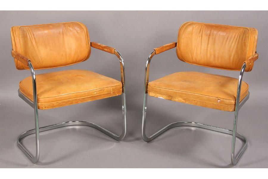 Pr Mid Century Modern Chrome Leather Arm Chairs Loading Zoom