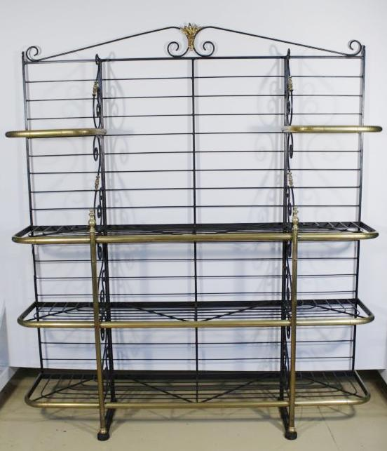 Well known A French Wrought Metal and Brass Bakers Rack, Base Marked Pe SE26