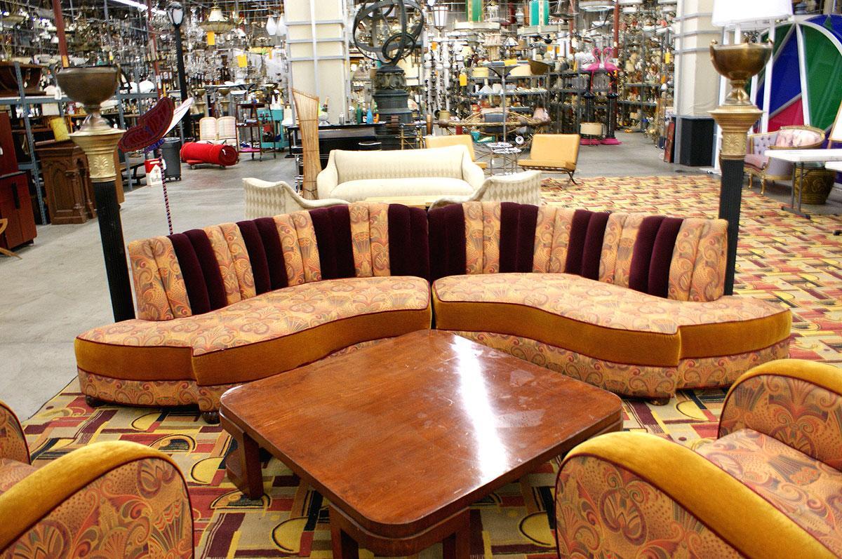 Image 4 Vintage Jazz Style Kidney Shaped Art Deco Sofa With Shell Back