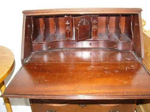 Image 2 Mahogany Drop Front Secretary Desk Circa 1950 Chippendale Ball And