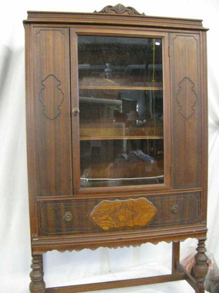 antique china cabinet 1920s 1920's 30's Walnut China Cabinet. antique china cabinet 1920s