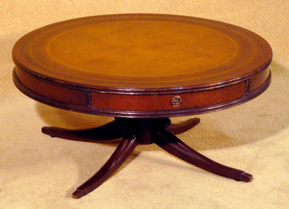 antique round coffee table 36 quot leather top coffee table circa 1940s 4128