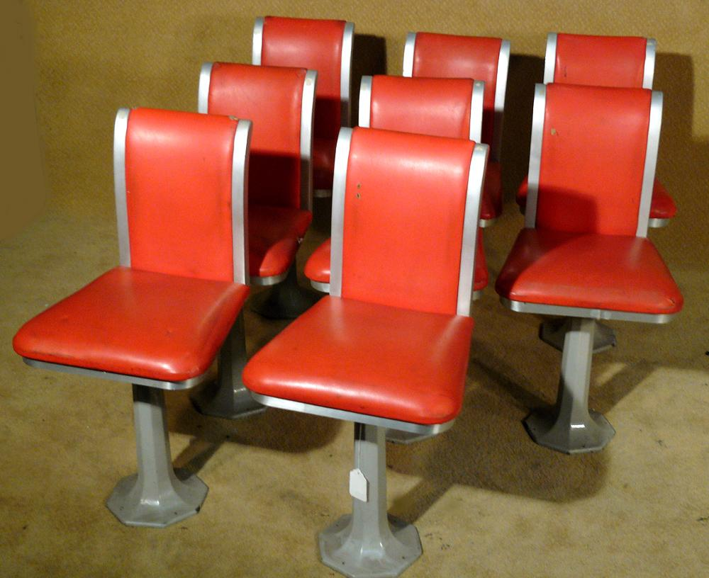Set Of 8 Red High Back 1950 S Bar Stools Loading Zoom