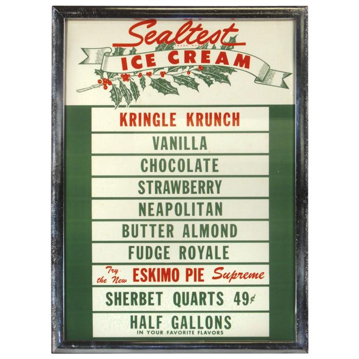 Fresh Sealtest Ice Cream flavor board (holiday style, includes Kringle  HL97