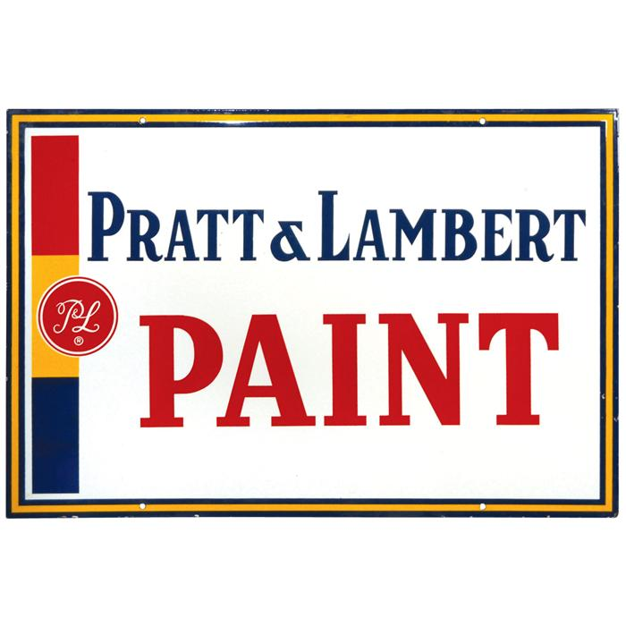 Pratt Lambert Paint Porcelain Sign 2 Sided Exc Cond On Both Sides 24 H X 36 W