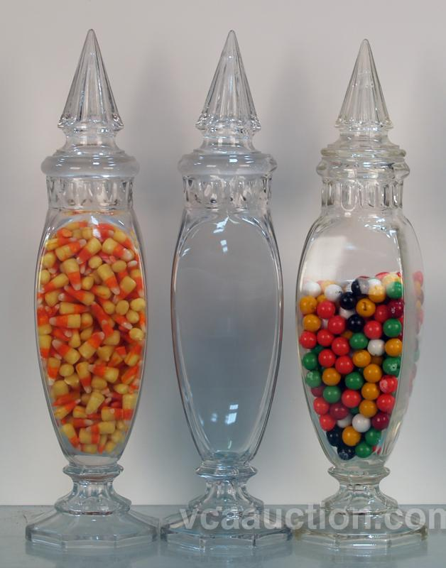 Brand-new Lot Of 3 Tall Glass Candy Jars w/ Lids KL22