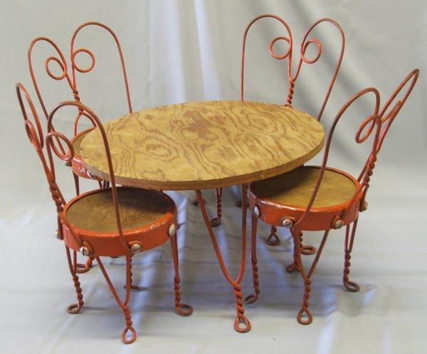 1920s Doll Ice Cream Parlor Chairs Table Set Loading Zoom