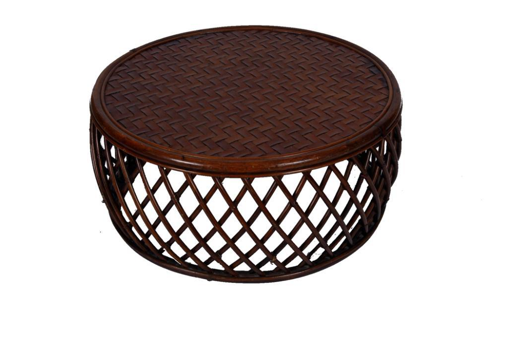 Contemporary Round Bamboo Coffee Table Woven Leather Top Measures 16 X34 Across Loading Zoom
