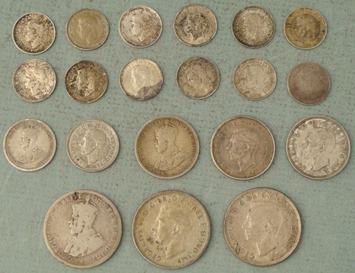 Image 1 Large Lot 20 Old Australian Silver Coins 1912 1951