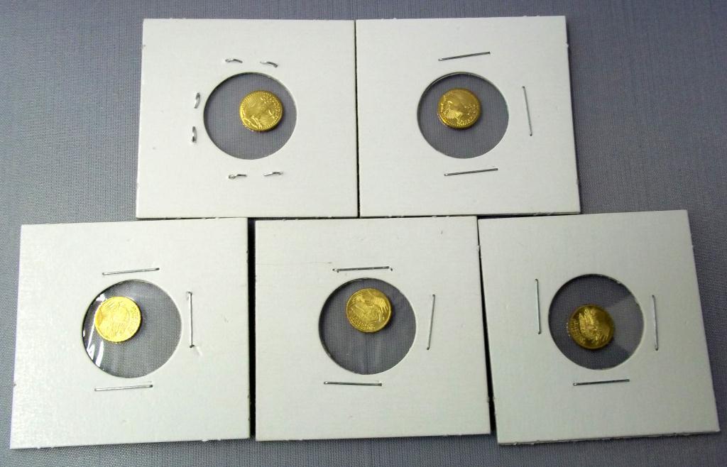 Unique Lot-5 Double Eagle Mini Replica of US Gold Coin YZ91